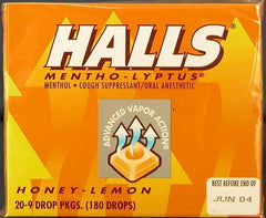HALLS HONEY LEMON STICKS 9'S - PACKED 20 STICKS OF 9