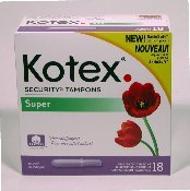 TAMPONS, KOTEX SUPER 18'S