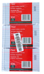 "INDEX CARDS, 3"" X 5"" - 12 PACKS"