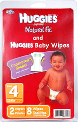 HUGGIES DIAP LRG 2-CT W/BRANDED WIPES