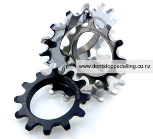 DSP CNC machined black anodise steel sprockets