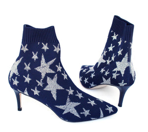 BAILEE bootie in navy knit - Allegra James