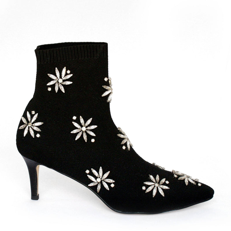 HAYLEY bootie in black knit - Allegra James