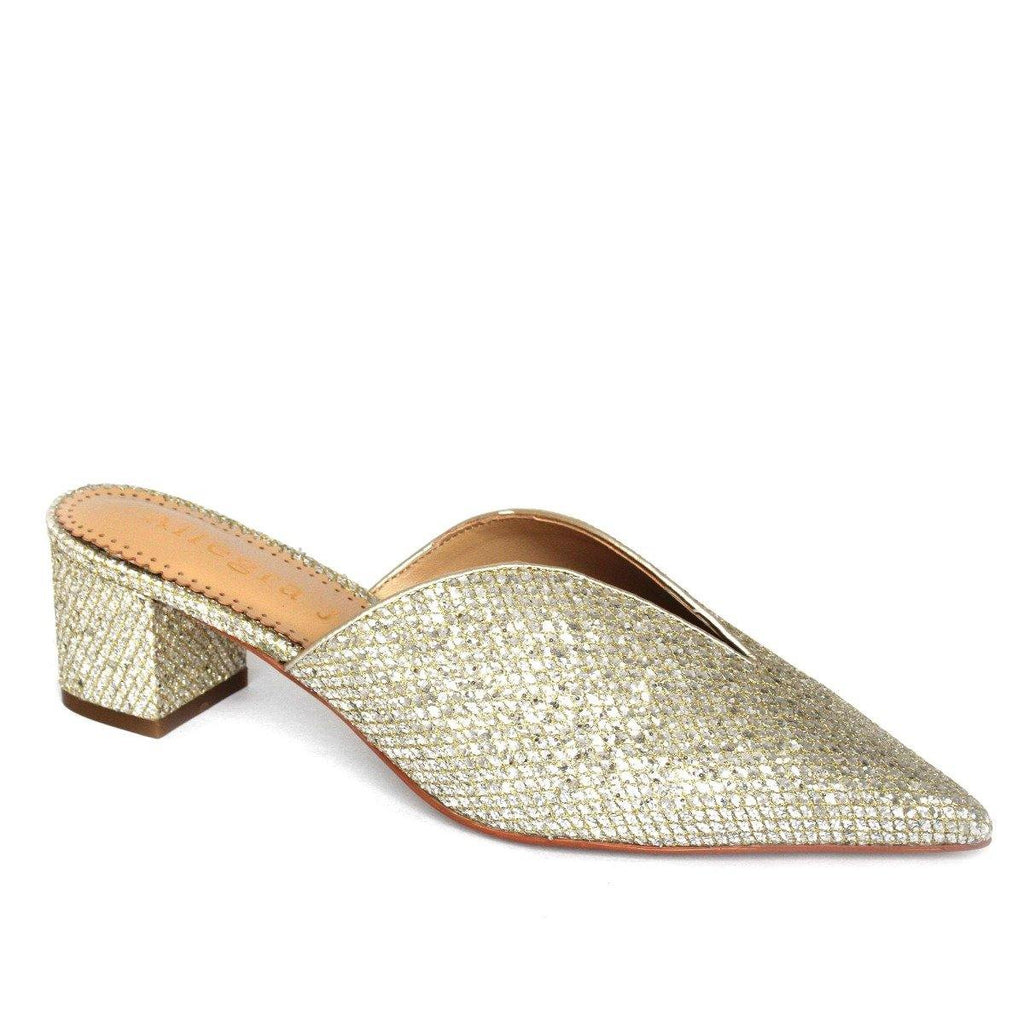 FIONA mule in gold fabric - Allegra James