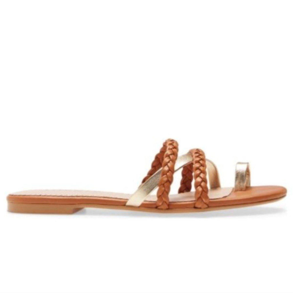 LUCY flat sandal in brown leather - Allegra James