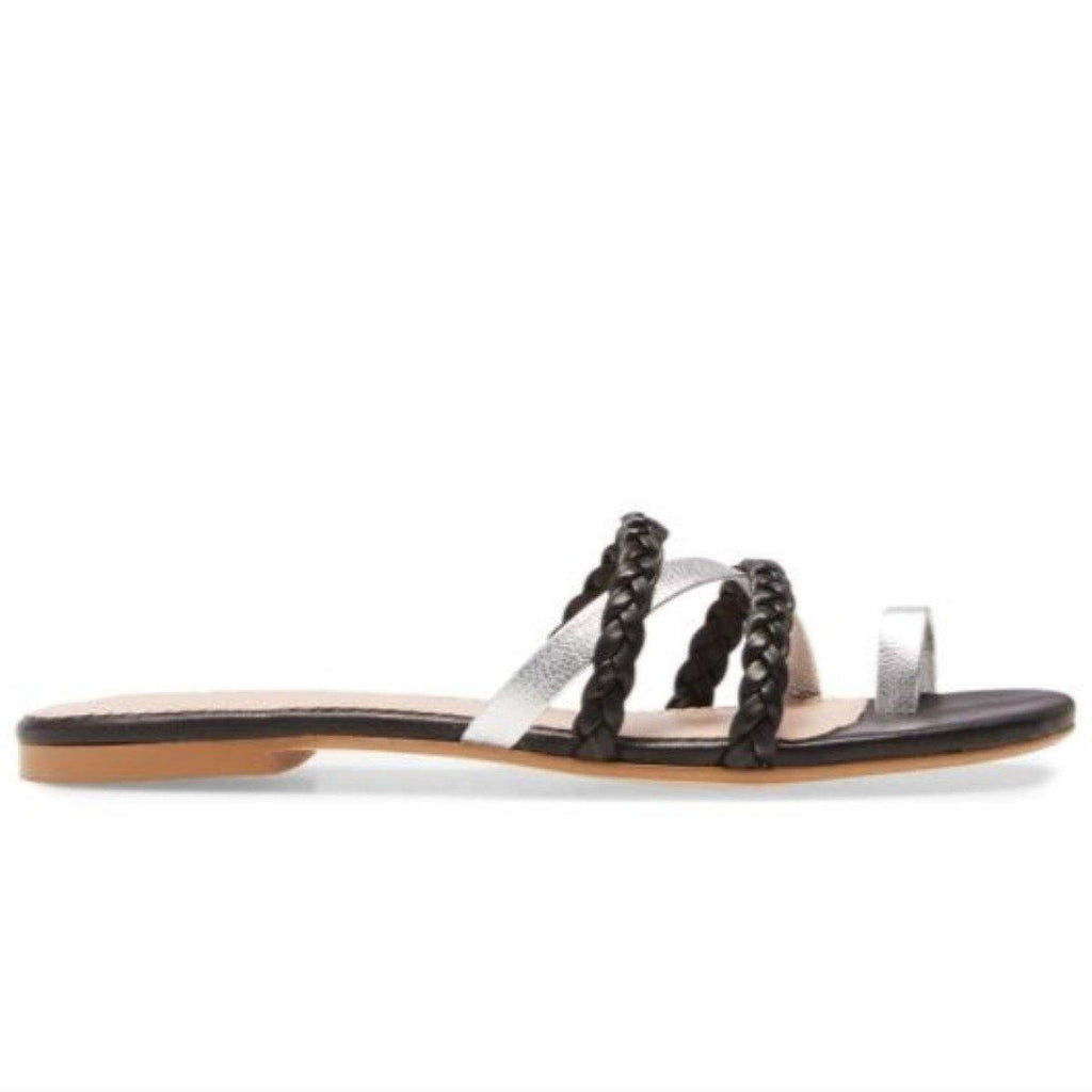 LUCY flat sandal in black leather - Allegra James