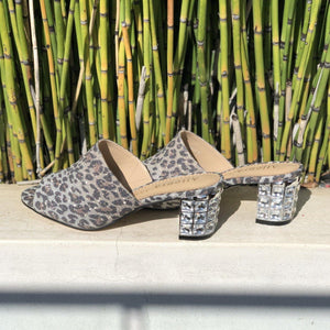 CINDY slide in leopard print fabric - Allegra James
