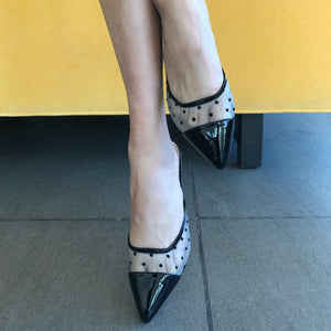 LOLO slide in polka dot and black patent - Allegra James