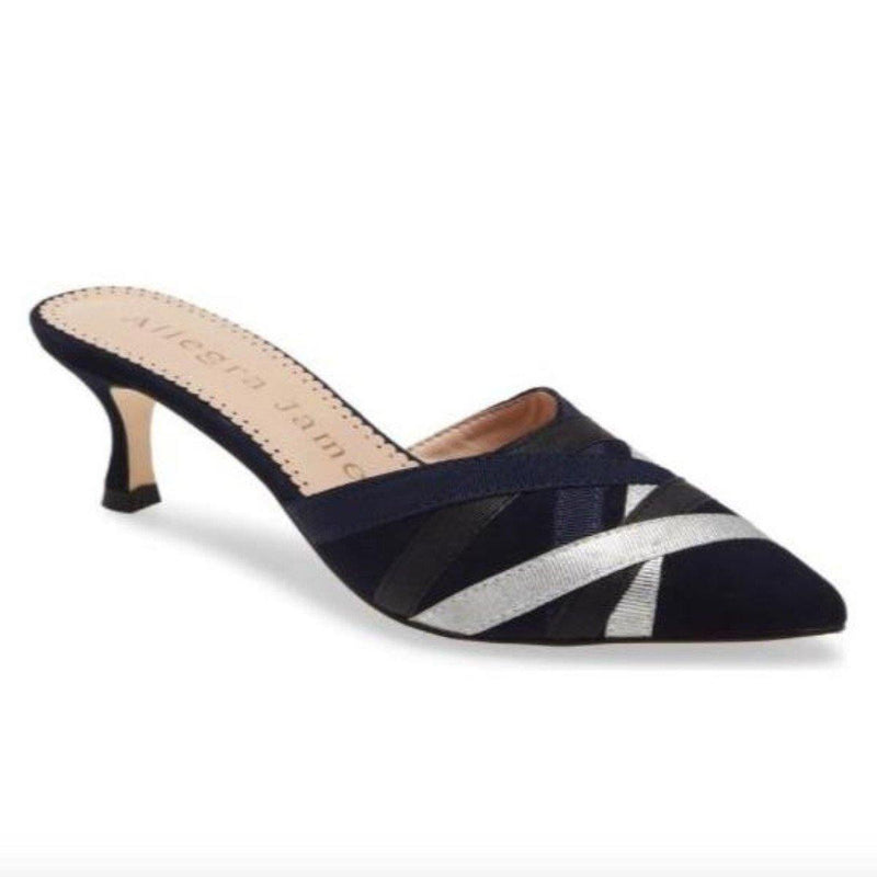 GINGER mule in navy suede - Allegra James