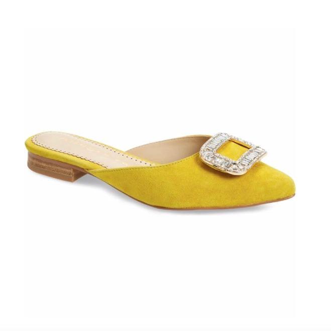 LISA slide in yellow suede - Allegra James