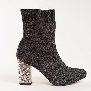 BRIT Bootie in Silver Knit - Allegra James