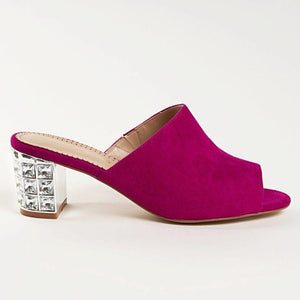 CINDY Mule in Fuchsia Suede - Allegra James