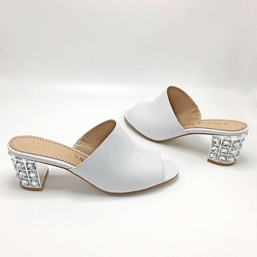 CINDY Mule in White Leather - Allegra James