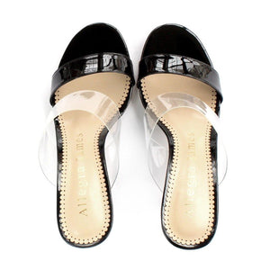 PARTY sandal in black patent - Allegra James