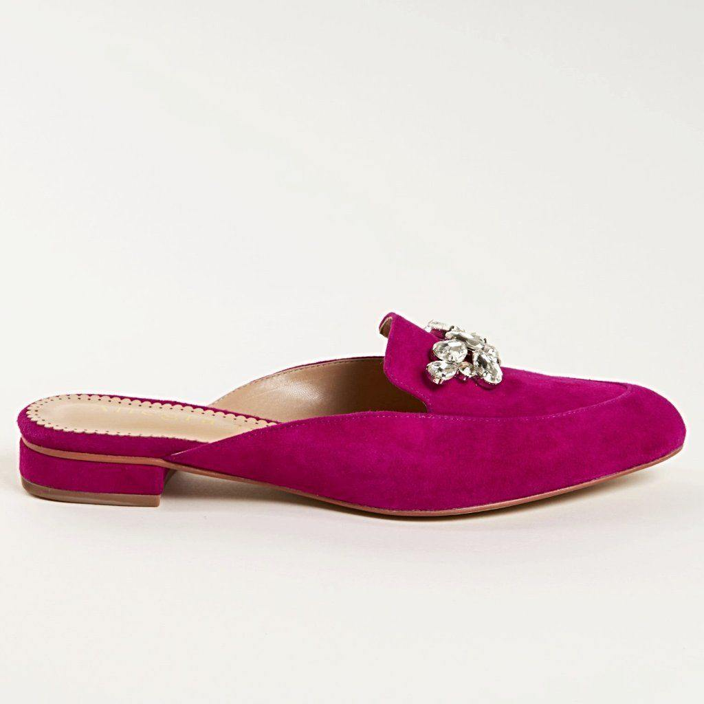 KAY Slide in Fuchsia Suede - Allegra James