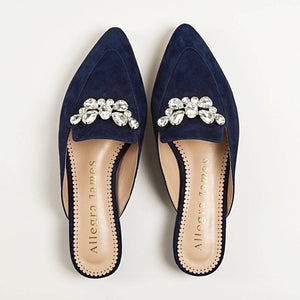 KAY Slide in Navy Suede - Allegra James