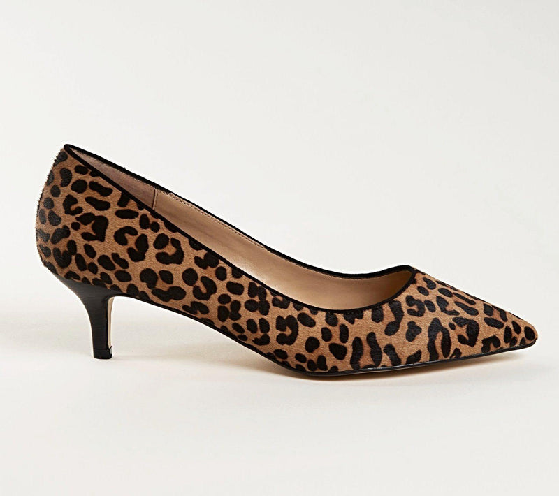 KRISTEN Kitten Heel Pump in Leopard Hair Calf - Allegra James