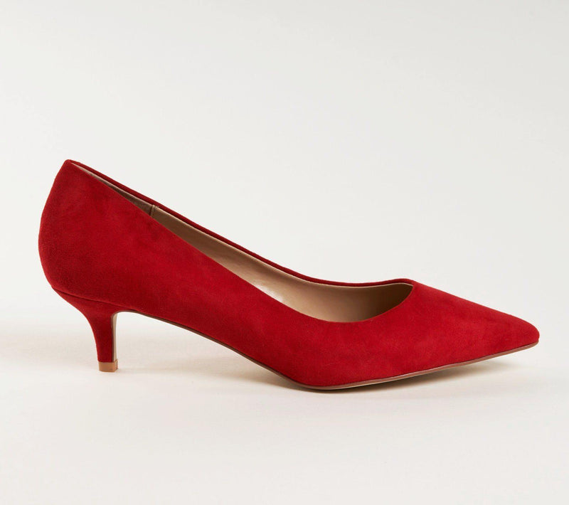 KRISTEN Kitten Heel Pump in Red Suede - Allegra James