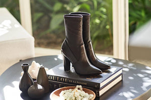 MARY Bootie in Black Leather - Allegra James