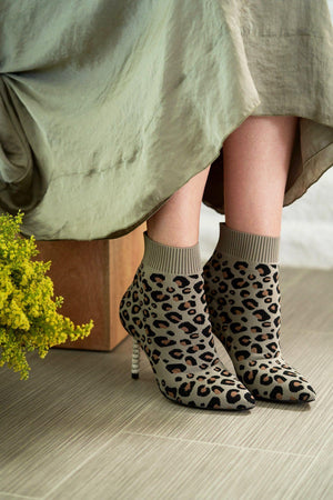 STACEY Bootie in Leopard Knit - Allegra James