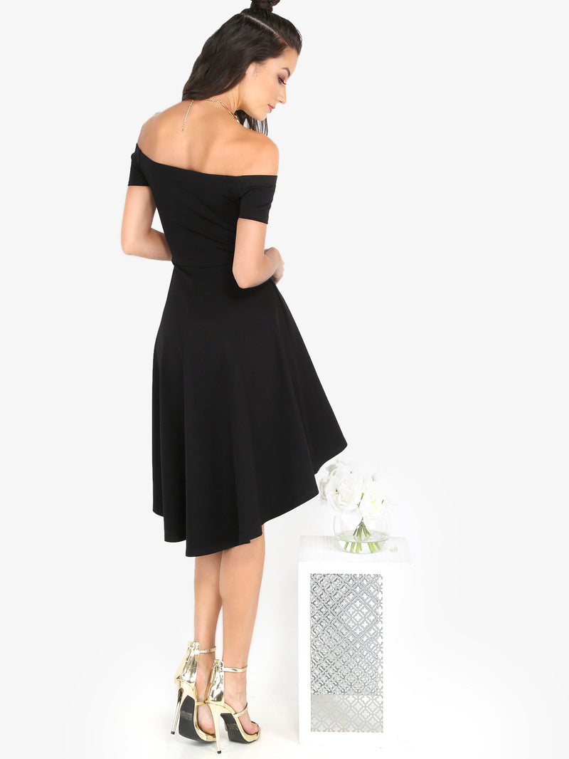Noir Off Shoulder Skater Dress