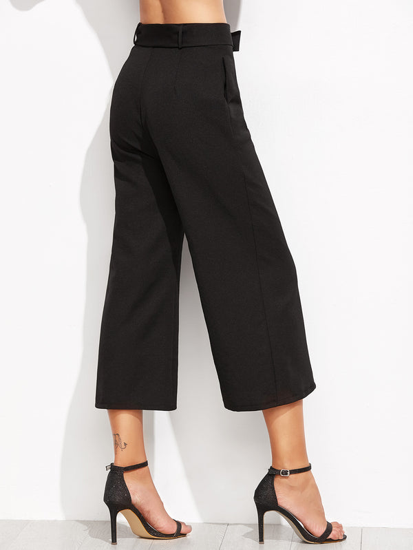 Fortuity Self-tie Wide Leg Culotte Pant
