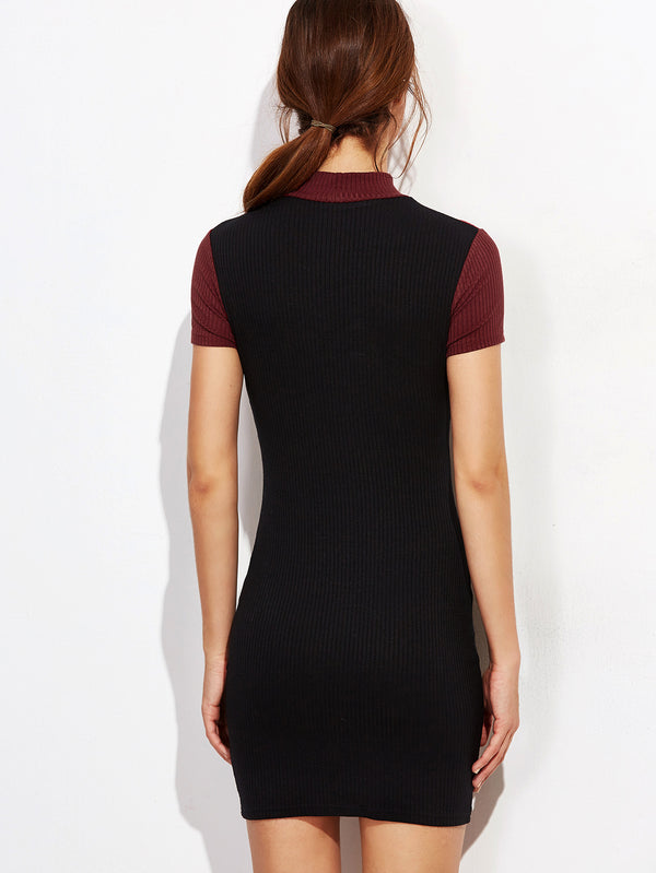London Ribbed Contrast Dress