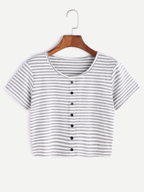 Chloé Button Detail Crop Stripe Top
