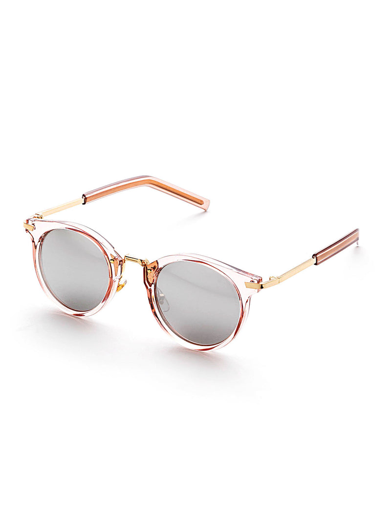 Crystal Clear Round Reflection Sunglasses