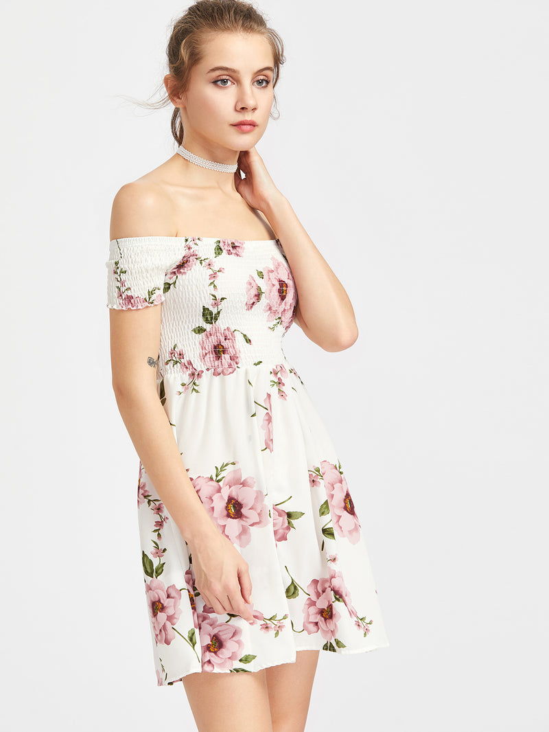 Bouquet Shirred Off Shoulder Dress