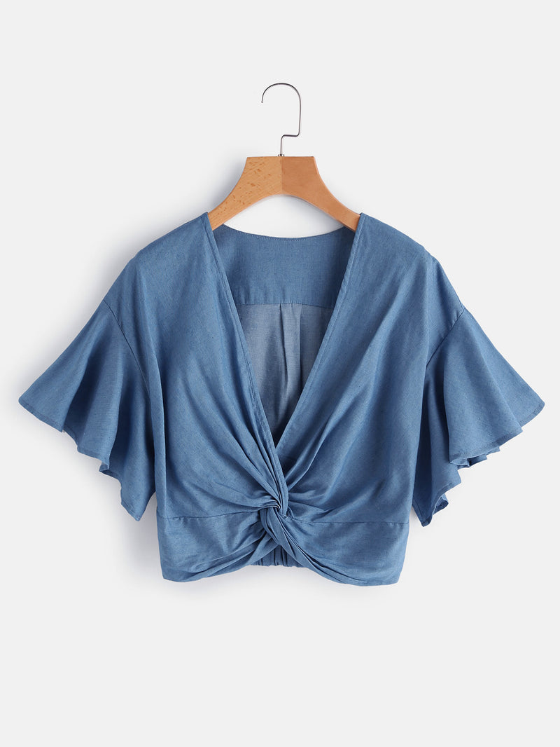 Tabbatha Denim Twist Crop