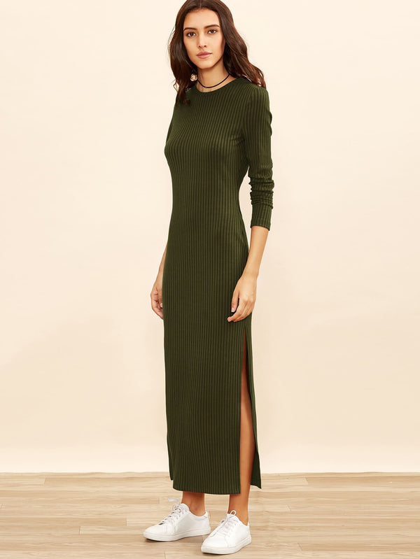 Autumn Ribbed Split Maxi