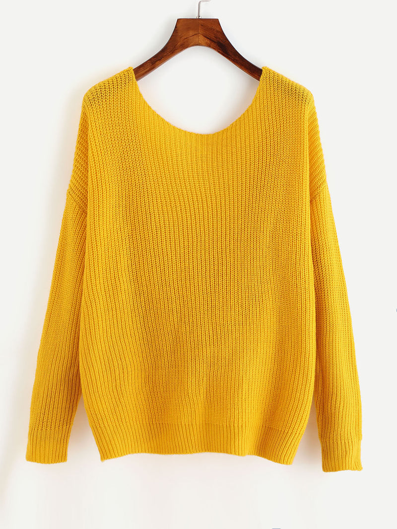 Back Twist Knot Knitted Jumper