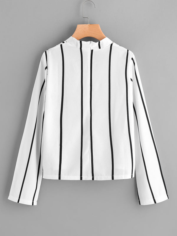 Sovereign Stripe Choker Detail Blouse