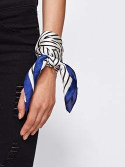 Pinstripe With Blue Boarder Head Scarf