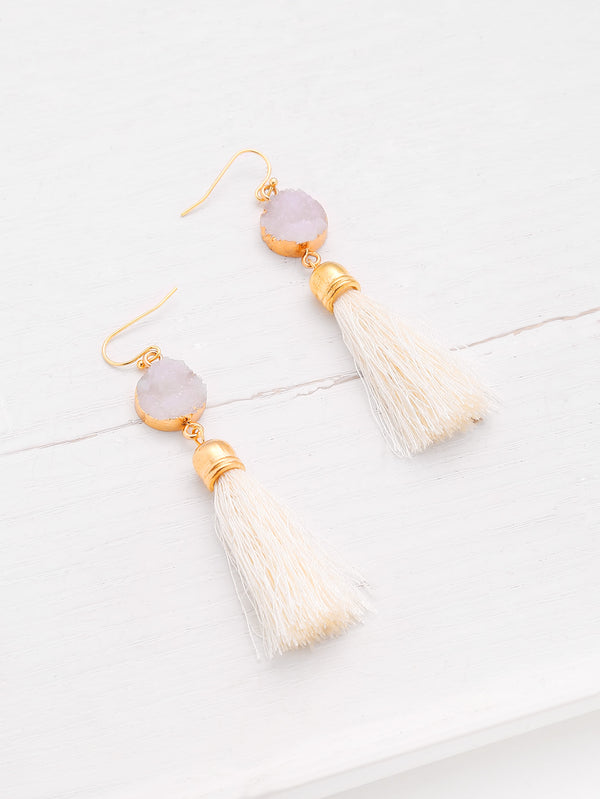 Off-White Tassel Drop Earrings