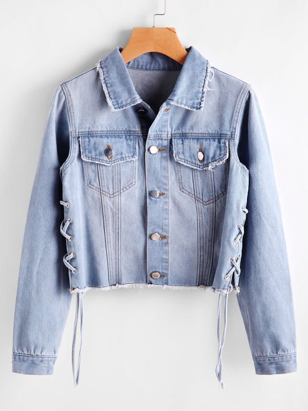 Laneway Denim Lace Up Jacket