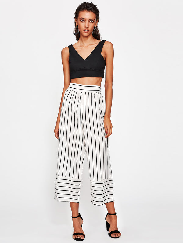Rhea Stripe Panel Culotte Pant