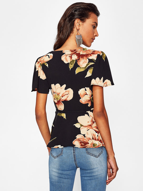 Maddison Floral Wrap Style Flounce Sleeve Top