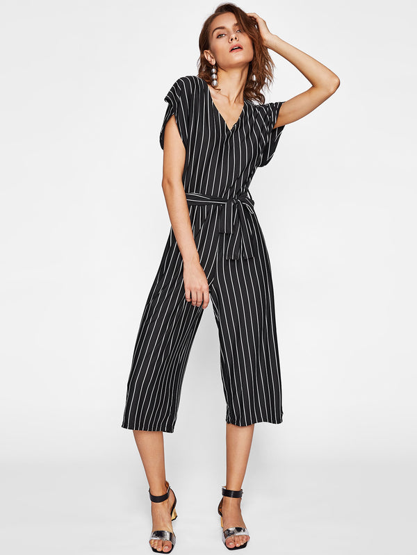Lucinda Waist Tie Stripped Jumpsuit