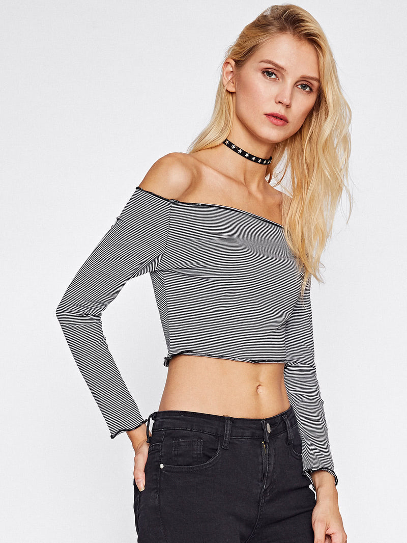 Gisele Off Shoulder Lettuce Edge Top