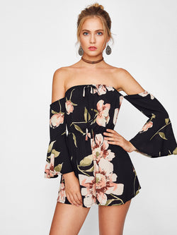 Doyenne Floral Off Shoulder Playsuit