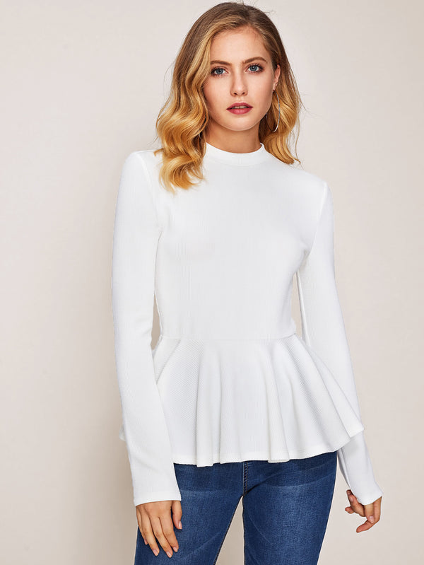 Rib Knit Peplum Top