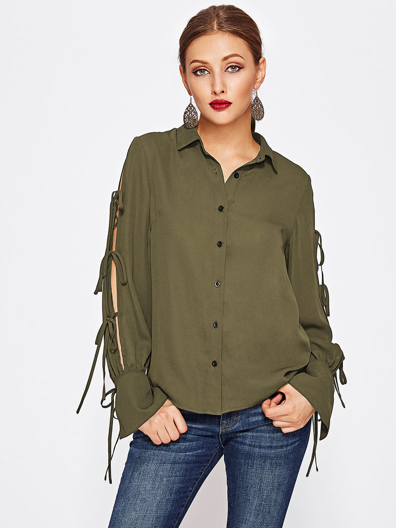 Khaki Sleeve Detail Blouse
