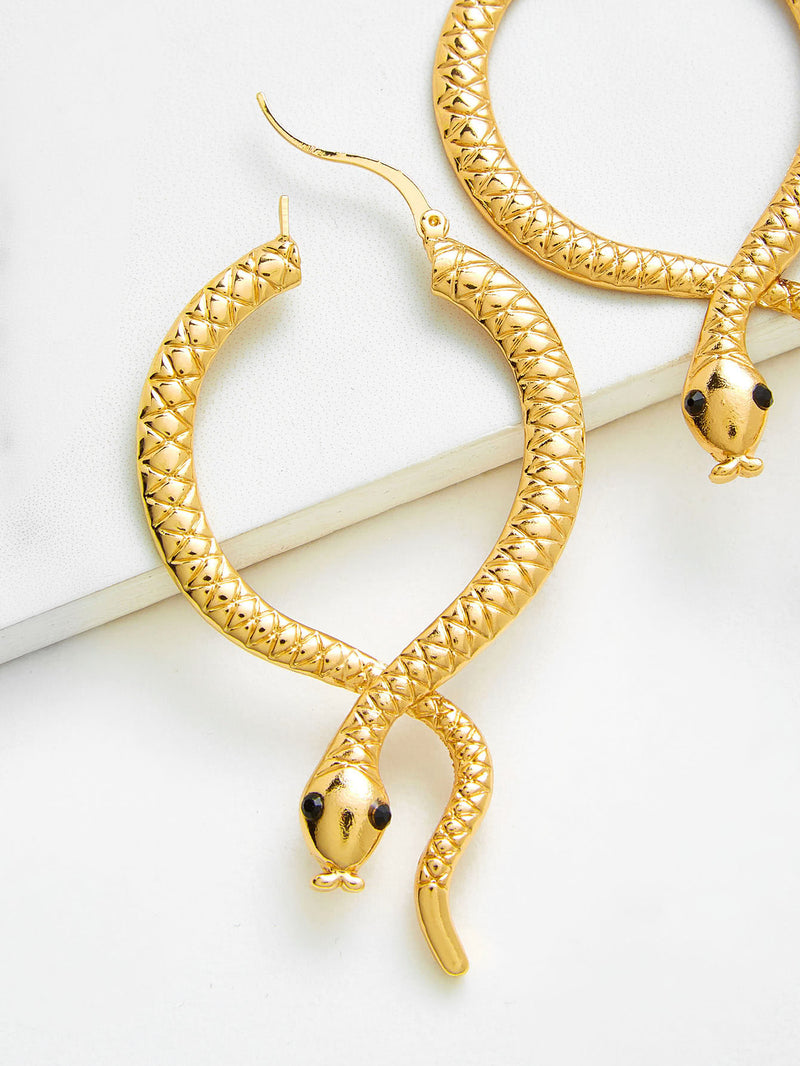 Snake Hoop Drop Earrings