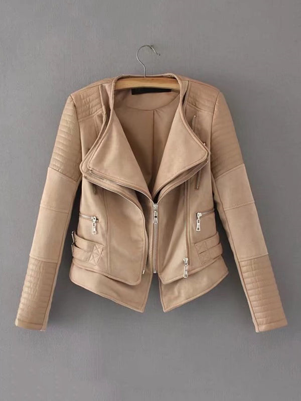 Beige Layered Biker Jacket