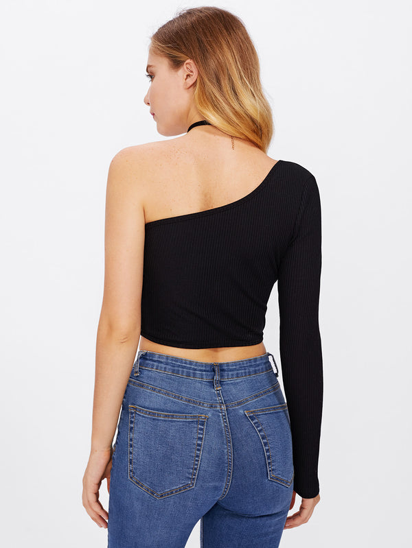 Sable One Shoulder Ribbed Top