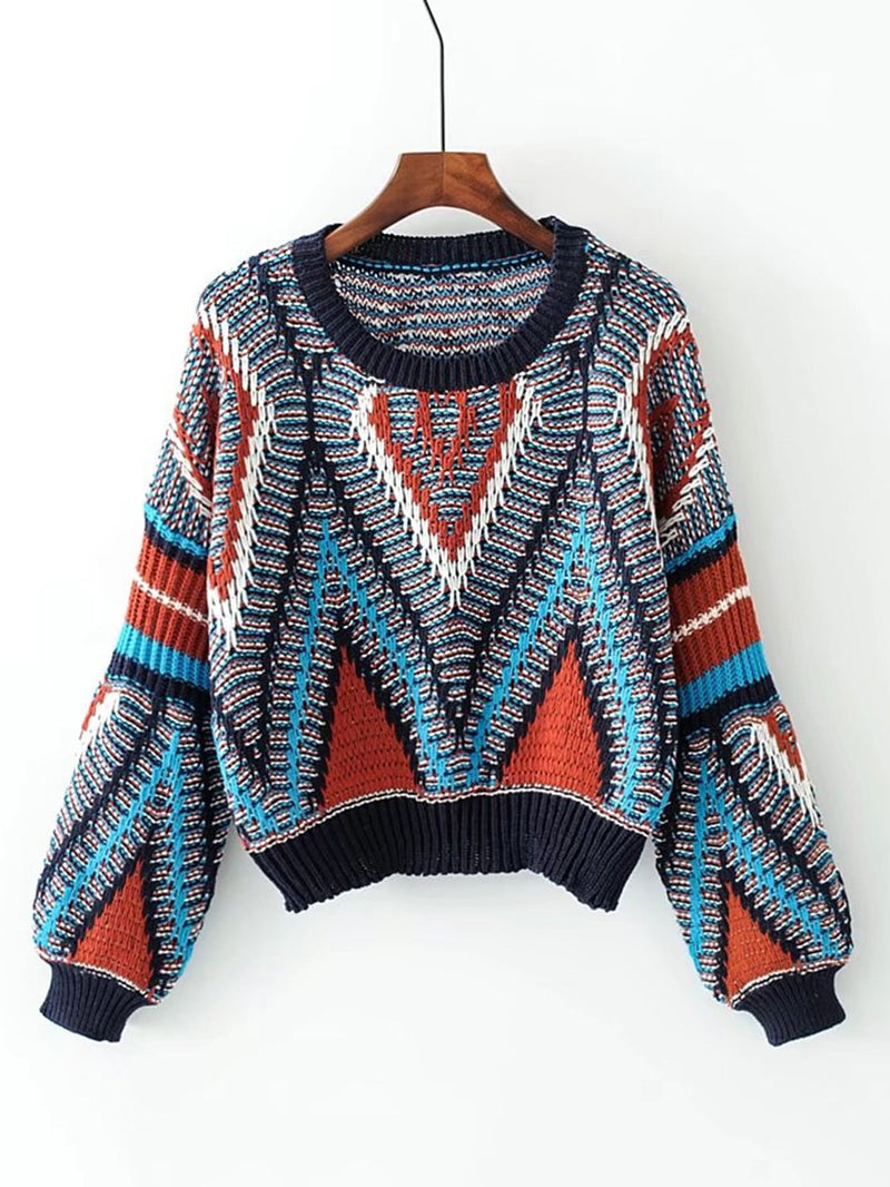 Multi-coloured Aztec Puff Sleeve Knitted Jumper