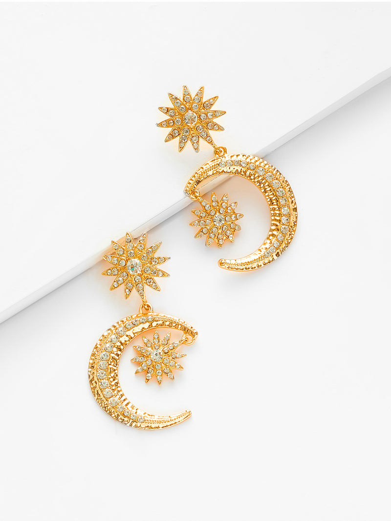 Gold Star and Moon Drop Earrings