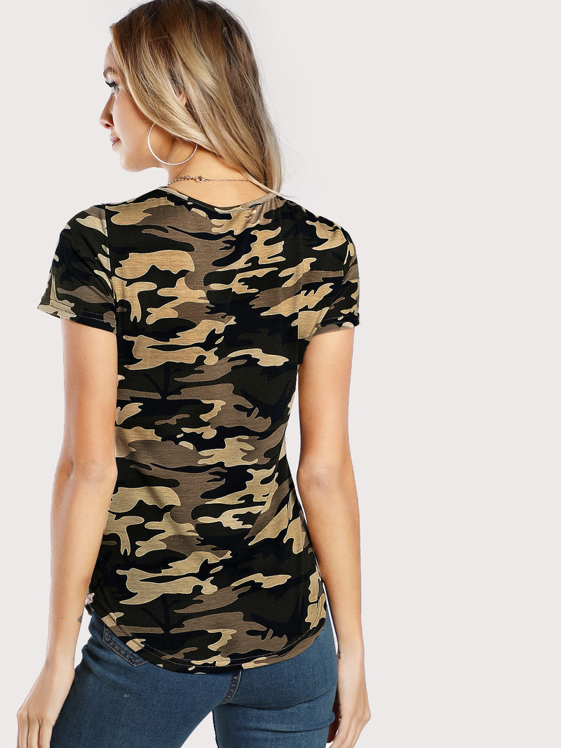 Khaki Camo Pocket Top